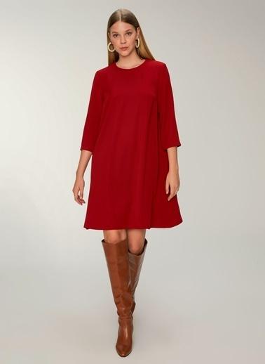 NGSTYLE Essentials - Arkası Fermuar Detaylı Krep Elbise Bordo